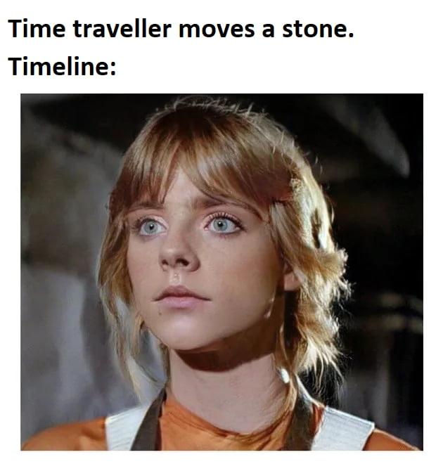 Time traveller moves a stone.  Timeline: