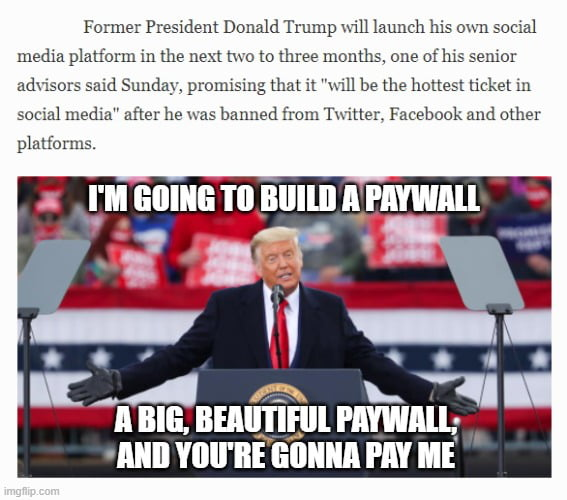"""Former President Donald Trump \in launch his own socxal media plationu in the next two to three mantle. one ofhjs semor adnsors smd Sunday, pt-ouusmg that :t """"mu be the hottest [kkel m $061211 tnedJa"""" after he """"2'5 banned from '1'\\'ttlert Facebook and other  plaltorms.  A BIG, BEIII'I'IflIl PME' llllll VIIII'BE [IIIIIIIA I'M ME"""