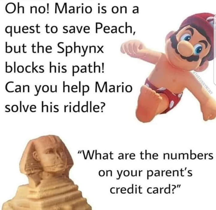 """Oh no! Mario is on a quest to save Peach, but the Sphynx blocks his path!  Can you help Mario «\y\ solve his riddle? L \  """"What are the numbers on your parent's credit card?"""""""