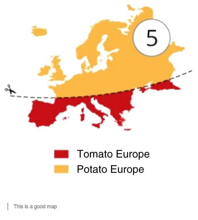- Tomato Europe - Potato Europe  This is a good map