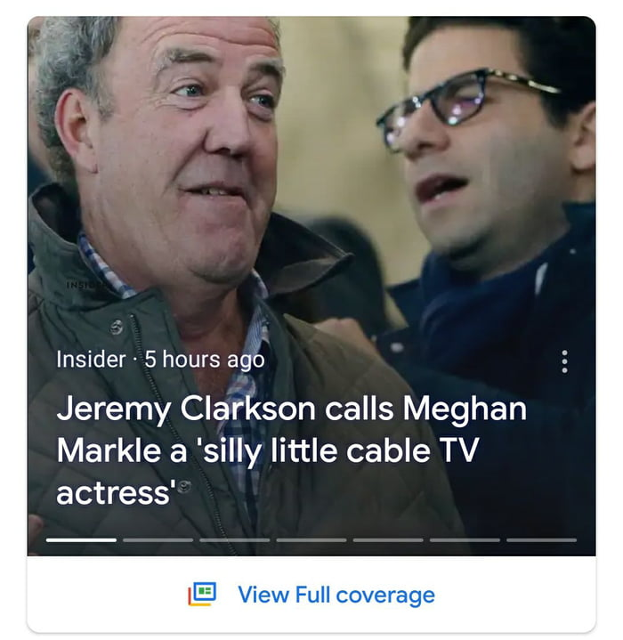 Insider- 5 hours ago  Jeremy Clarkson calls Meghan Markle a 'silly little cable TV actress'