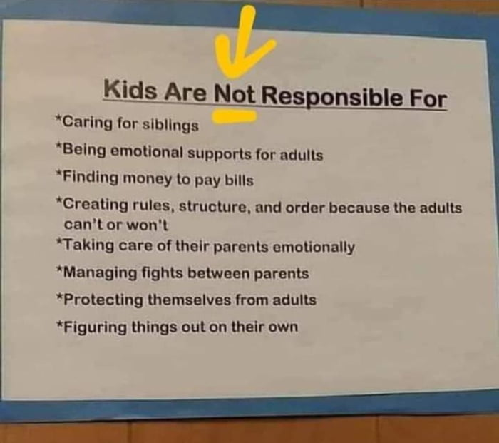 """Kids Are Not Responsible For  'Carlng for siblings -  'Belng emotional support: (or minus 'Flndlng money to pay bills  'Creallng rules. slrnclurn. and order because the adults can't or won't  'Taklng care 0! [helr parents emotionally 'Managlng flghm between parents """"Prolecllng themselves 'rom adults 'Flgurlng things out on their own"""