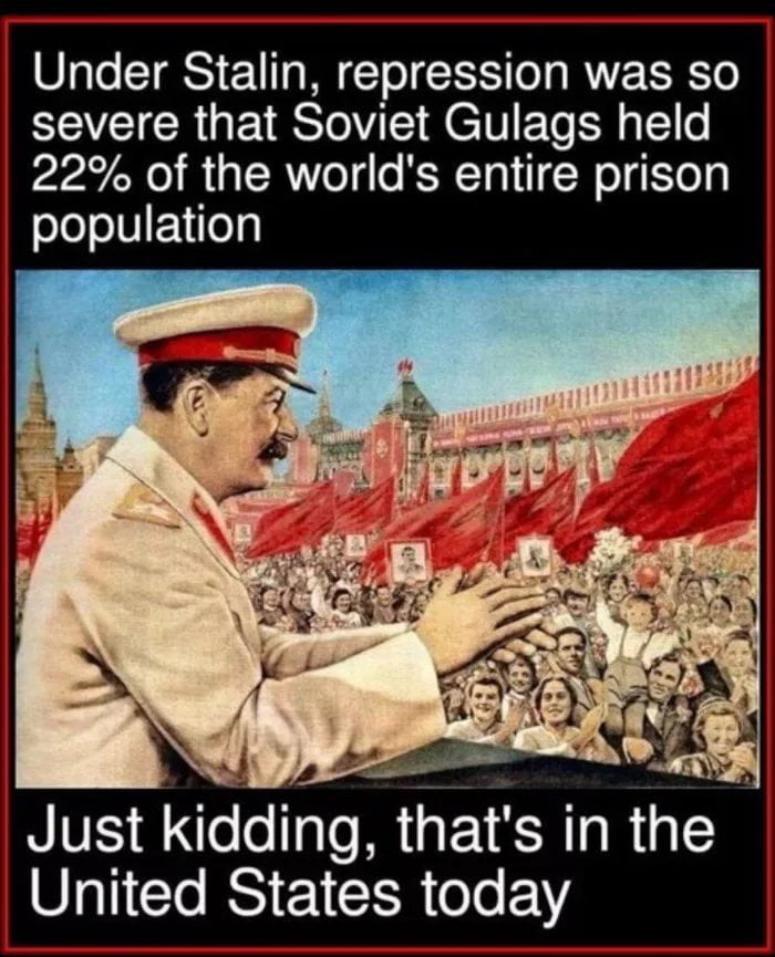 Under Stalin, repression was so severe that Soviet Gulags held 22% of the world's entire prison population  Just kidgdin, that's in the ' United States today