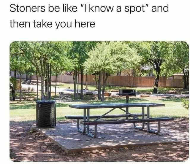 """Stoners be like """"I know a spot"""" and then take you here"""