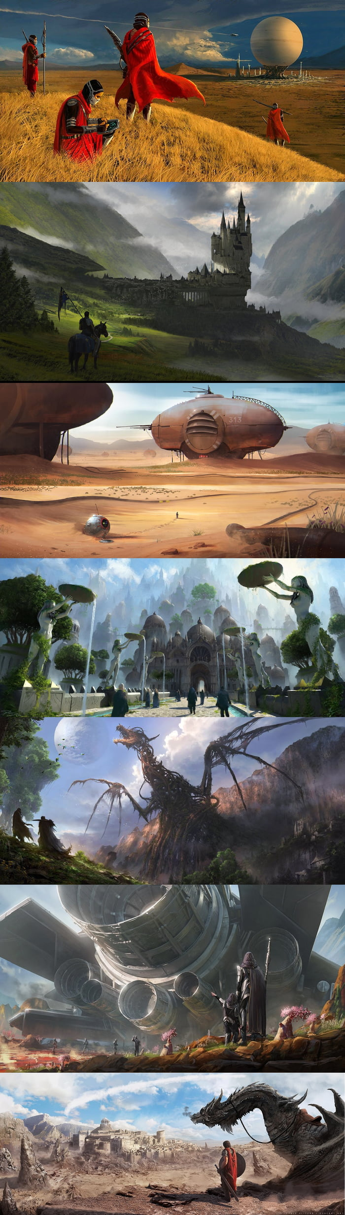 You into game development, and need an inspiration for the enviroment of your game? Or writing a fantasy/scifi story? Here, take this art and build the greatest roleplaying game world has ever seen.