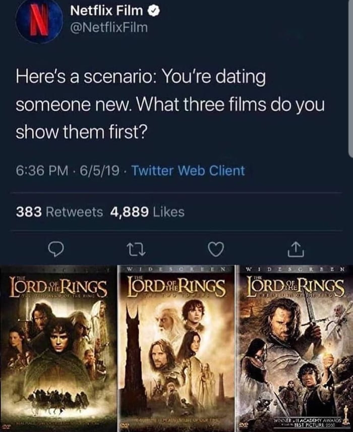 . Netflix Film 9 .y @NetflixFilm  Here's a scenario: You're dating someone new. What three films do you show them first?  6236 PM - 6/5/19 - Twitter Web Client  383 Retweets 4,889 Likes