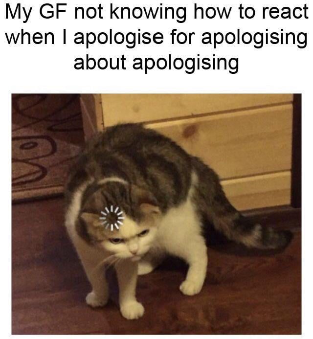 My GF not knowing how to react when I apologise for apologising about apologising