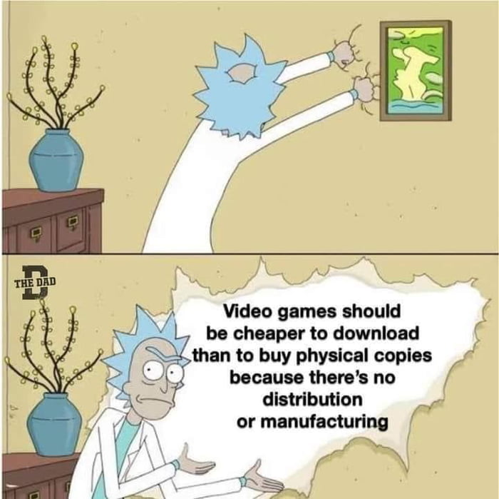 \ 3x; '  'v ' *vv /  Video games should ( , be cheaper to download ( . than to buy physlcal copies ,I because 'hore's no / eributlon , or manulacturlng W \ f/x ;' Fame; '41 / \ A ,1 \§'\v(  /