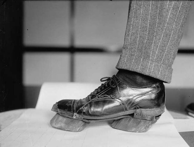 'Cow shoes' used by moonshiners during the Prohibition to disguise their footprints, 1924.
