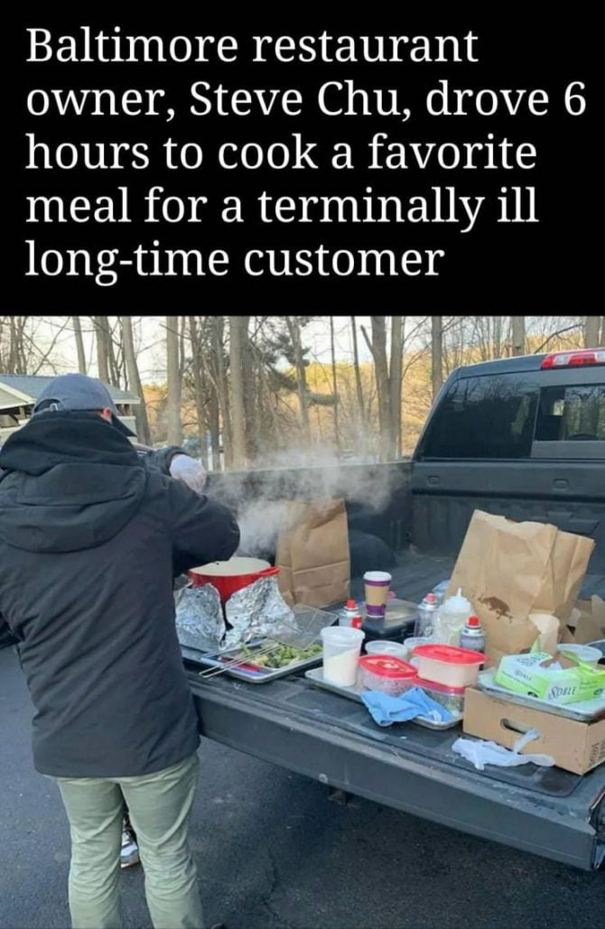 Baltimore restaurant owner, Steve Chu, drove 6 hours to cook a favorite meal for a terminally ill long-time customer