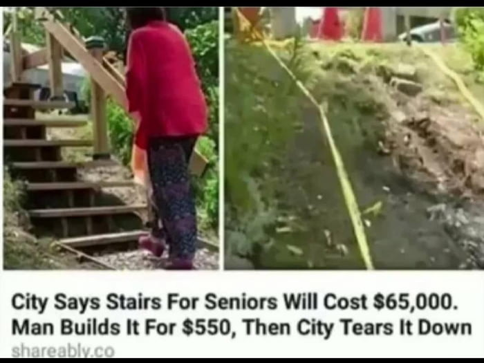 City Says Stairs For Seniors Will Cost 865,000. Man Builds It For 3550, Then City Tears It Down